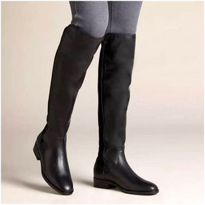 Clarks Black Pure Caddy Knee High Riding Boots 6.5